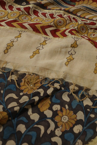 Grey with Blue Floral Painted Kalamkari Silk Cotton Dupatta