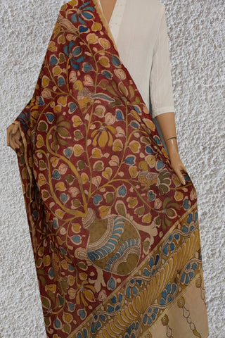 Maroon with Yellow Floral Painted Kalamkari Silk Cotton Dupatta