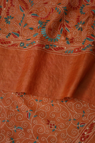 Brownish Orange Hand Embroidered Kantha Work Silk Dupatta