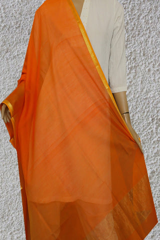 Orange with Zari Border Maheshwari Silk Cotton Dupatta