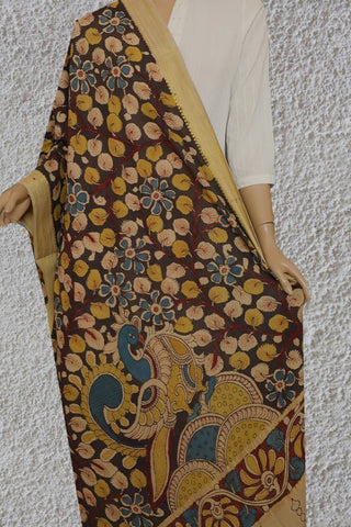 Grey with Maroon and Yellow Painted Kalamkari Cotton Dupatta