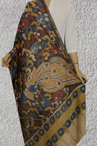 Maroon with Yellow Leaf Painted Kalamkari Silk Cotton Dupatta