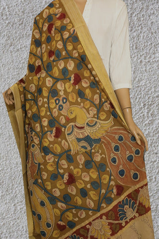 Light Olive Green with Blue Floral Painted Kalamkari Cotton Dupatta