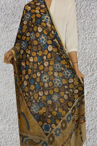Grey with Blue and Yellow Painted Kalamkari Silk Cotton Dupatta