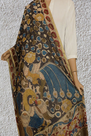 Elephant Grey with Yellow Flowers Painted Kalamkari Silk Cotton Dupatta