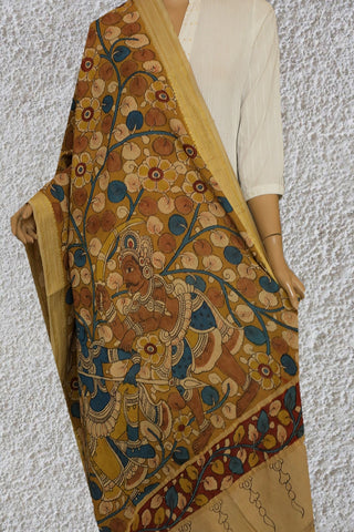 Brownish Yellow Painted Kalamkari Cotton Dupatta