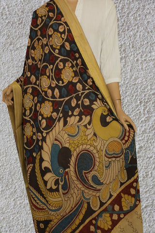 Elephant Grey with Yellow Flower Painted Kalamkari Cotton Dupatta