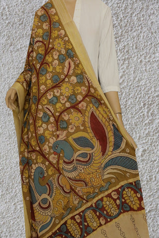 Olive Green with Maroon Floral Painted Kalamkari Cotton Dupatta