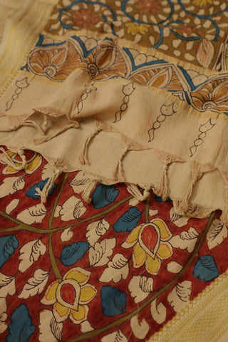 Half and Half Maroon with Olive Green Painted Kalamkari Cotton Dupatta