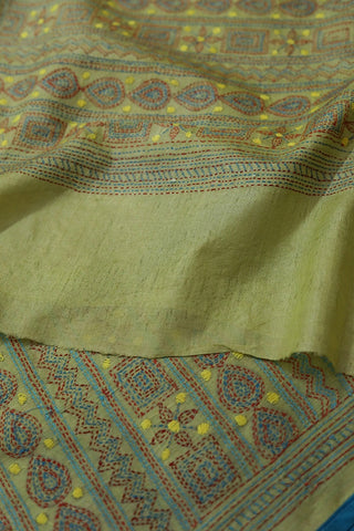 Green with Blue Hand Embroidered Kantha Work Silk Dupatta