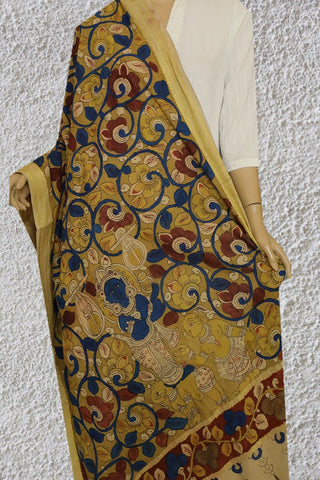 Blue Floral with Maroon and Yellow Painted Kalamkari Cotton Dupatta