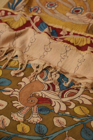 Yellow with Peach Peacock Painted Kalamkari Cotton Dupatta