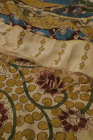 Beige with Yellow Painted Kalamkari Silk Cotton Dupatta
