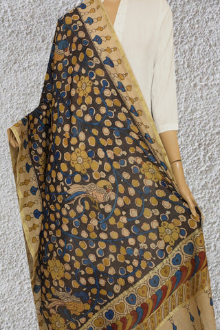 Yellow with Blue Floral Painted Kalamkari Silk Cotton Dupatta