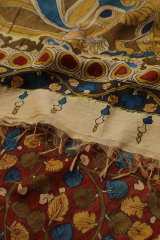 Maroon Floral Painted Kalamkari Silk Cotton Dupatta