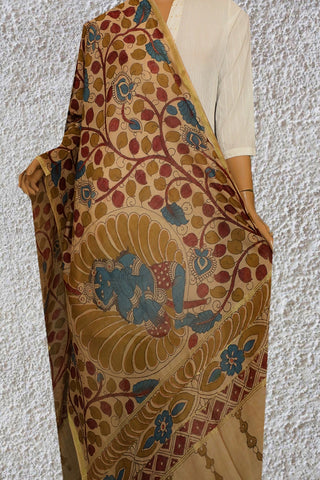 Beige with Maroon Painted Kalamkari Silk Cotton Dupatta