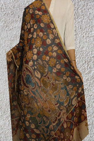 Cement Grey Floral Painted Kalamkari Silk Cotton Dupatta