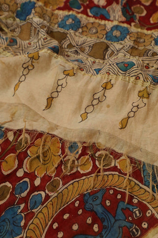 Maroon with Blue and Yellow Painted Kalamkari Silk Cotton Dupatta