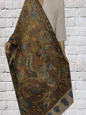 Brown Hand Painted Kalamkari Chanderi Dupatta
