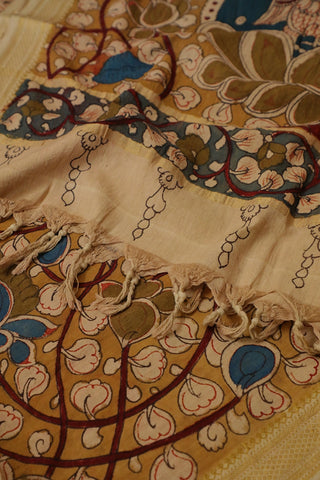 Olive Green with Blue Lotus Painted Kalamkari Cotton Dupatta
