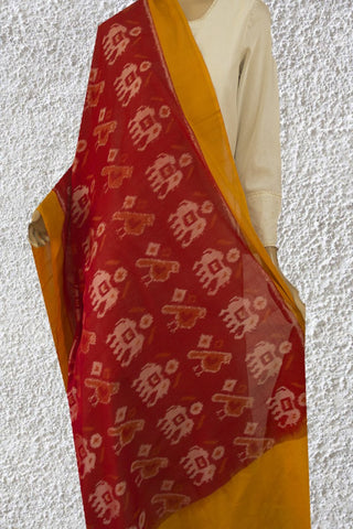 Elephants in Red Handwoven Ikat Cotton Dupatta