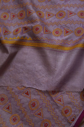 Purple with Circle and Triangle Kantha Work Silk Dupatta