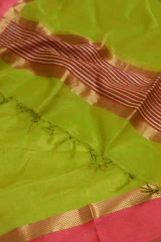 Neon Green with Pink Thread Border Maheshwari Silk Cotton Dupatta
