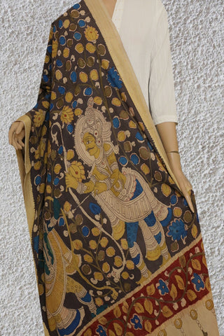 Elephant Grey with Olive Green Floral Painted Kalamkari Cotton Dupatta