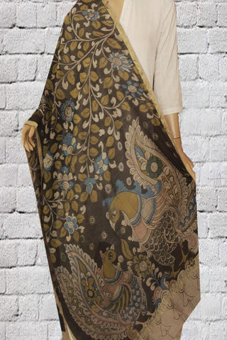 Black Hand Painted Kalamkari Chanderi Dupatta
