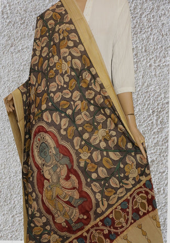 Cement Grey with Green Painted Kalamkari Cotton Dupatta
