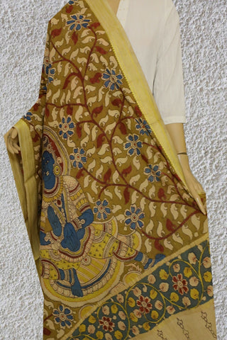 Beige with Maroon Floral Painted Kalamkari Cotton Dupatta