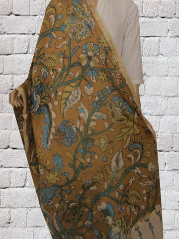 Yellowish Brown with Blue Hand Painted Kalamkari Chanderi Dupatta