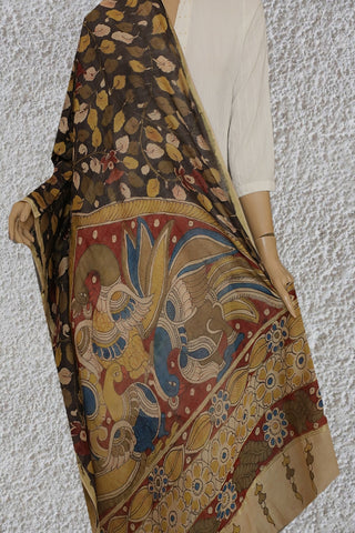 Grey with Olive Green Floral Painted Kalamkari Silk Cotton Dupatta