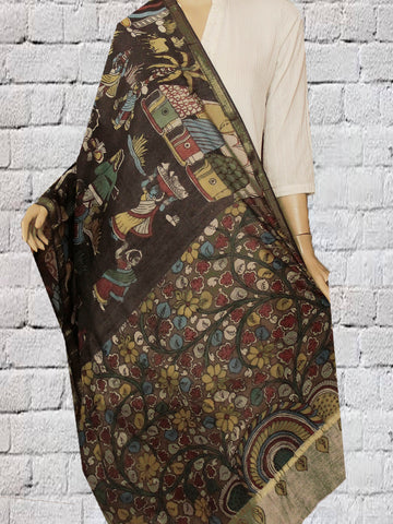 Village Pattern Hand Painted Kalamkari Chanderi Dupatta