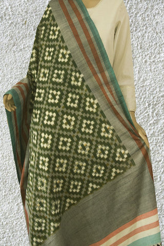 Dark Green with Grey Handwoven Ikat Cotton Dupatta