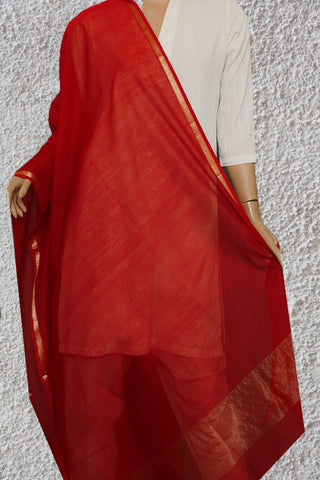 Red with Small Zari Border Maheshwari Silk Cotton Dupatta