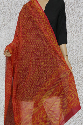 Pink with Yellow Block Printed Kota Doria Dupatta
