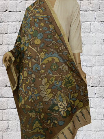 Brown with Yellow Floral Hand Painted Kalamkari Chanderi Dupatta