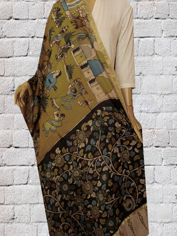 Yellow with Black Hand Painted Kalamkari Chanderi Dupatta