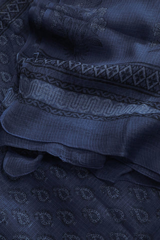 Subdued Indigo with Black Paisley Block Printed Kota Doria Dupatta