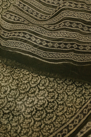 Subdued Green Block Printed Kota Doria Dupatta