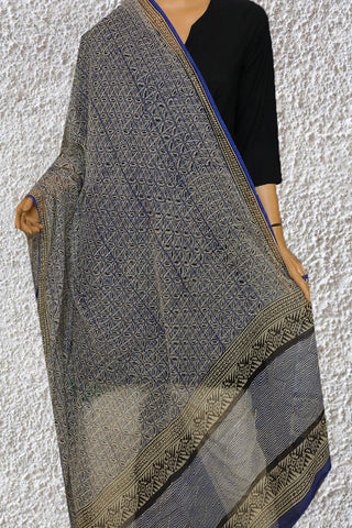 Blue with Black Block Printed Kota Doria Dupatta