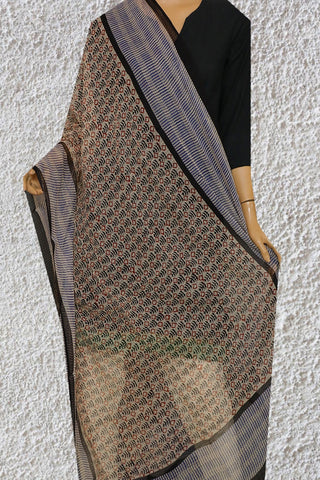 Beige with Maroon and Indigo Block Printed Kota Doria Dupatta
