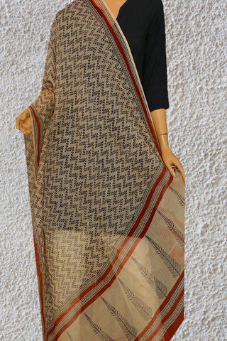 Beige with Black Dotted Zig Zag Block Printed Kota Doria Dupatta