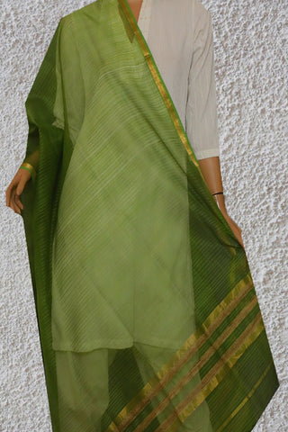 Green Stripes Maheshwari Katan Silk Dupatta