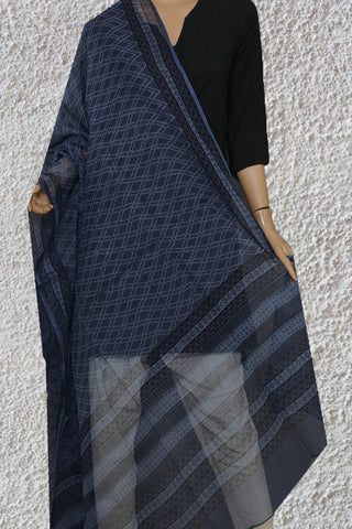 Subdued Indigo Blue Checks  Block Printed Kota Doria Dupatta