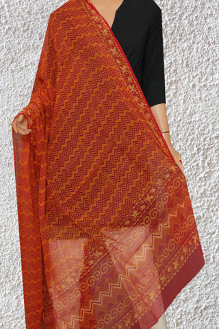 Fenugreek Yellow with Maroon Zig Zag Block Printed Kota Doria Dupatta