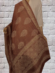 Brown Leaf Hand Block Printed Chanderi Dupatta