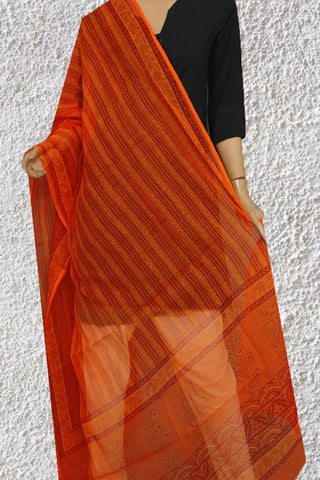 Orange with Maroon Block Printed Kota Doria Dupatta
