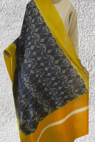 Blue with Yellow Handwoven Ikat Cotton Dupatta
